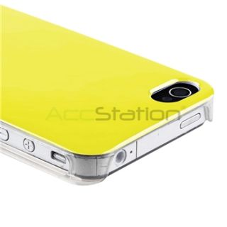Yellow w Clear Side Hard Case Cover Screen LCD Film Guard for iPhone 4