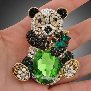 Clear Black Swarovski Crystal Topaz Cute Panda Brooch Pin Jewelry X22