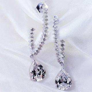 Clear Swarovski Crystal White Zircon CZ Drop Dangle Wedding Party