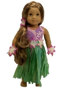 New Doll Clothes for 18 American Girl Hula Outfit Swimsuit Grass