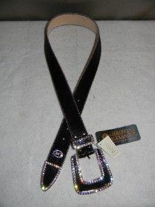 NWT Christine Alexander Black Leather & Swarovski Crystal Belt M
