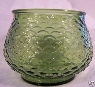 Vintage E O Brody Green Glass Bowl Fishscale