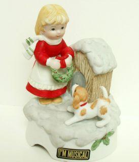 FLAMBRO CHRISTMAS MUSIC BOX, DOG & DOG HOUSE, GIRL WITH WREATH