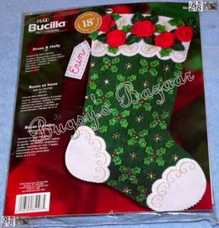 Bucilla Roses and Holly Felt Christmas Stocking Kit