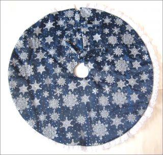 Christmas Tree Skirt 22 Tabletop DK Blue w Silver Snowflakes Custom