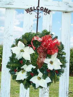 Christmas Wreath Silk White Poinsettias Pinecones Holly Pine Holidays