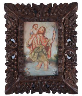 St Christopher Framed Cuzco Folk Art Santos Original Oil Painting On
