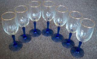 Set Of 7 Vintage Blue Stem Cobalt Wine Glasses Gold Rim Goblets Free