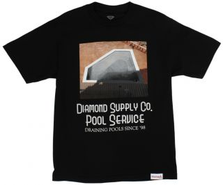 Diamond Supply Co Mens Pool Service Skate Graphic T Shirt Black New