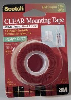 Scotch Double Sided Mounting Tape Industrial Strength 1 x 60 Clear Red