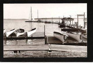 Clear Lake Iowa IA c1939 RPPC Witkes Boat Rental Docks
