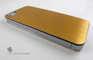 Gold Aluminum Clear Side Rear Hard Case Cover Apple iPhone 5 6th Gen