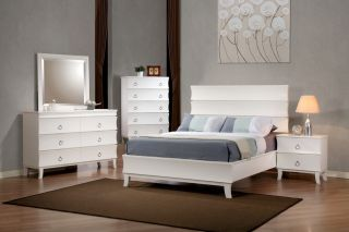 Holland Queen Bedroom White Finish Platform Bed Contemporary 5 Piece