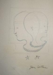 Original pencil drawing w COA Jean Cocteau signed Picasso era