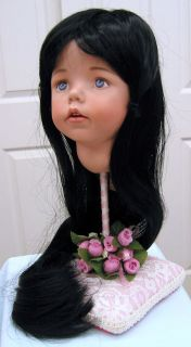 CHYNA WIG Long Black Straight Hair with Bangs size 10 11 for girl lady