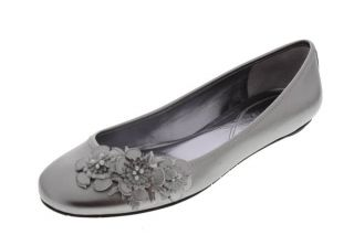 Ciao Bella New Frankie Metallic Leather Flowers Ballet Flat Round Toe