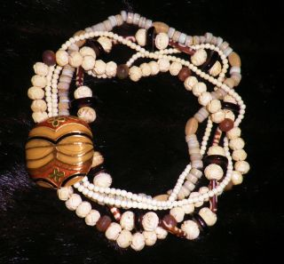 Five Strand TEKE TORSADE Necklace Bone, Horn & Glass by CICELY TYSON