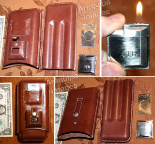 Leather 3 Cigar holder Case & Cutter, clipper Lighter New other(has