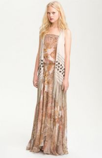Haute Hippie Silk Grommet Trim Fringe Vest