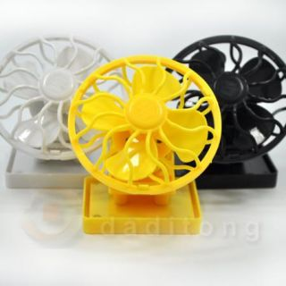 New Clip on Solar Sun Power Energy Panel Cooling Cell Fan Black Yellow