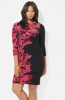 Lauren Ralph Lauren Floral Print Matte Jersey Sheath Dress (Plus)