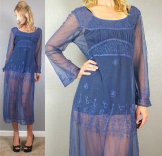 Vtg 80s Sexy Sheer Blue Embroidered Net Empire Waist Maxi Dress s M