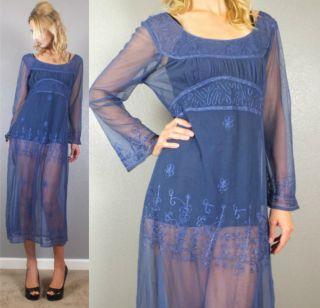 Vtg 80s Sexy Sheer Blue Embroidered Net Empire Waist Maxi Dress s M