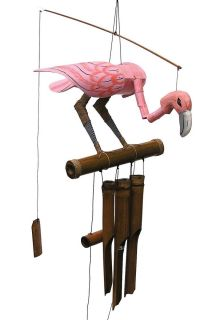 Cohasset Pink Flamingo Bobbing Head Bamboo Wind Chime