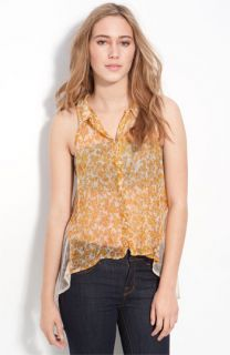 Free People Chiffon & Lace Sleeveless Shirt