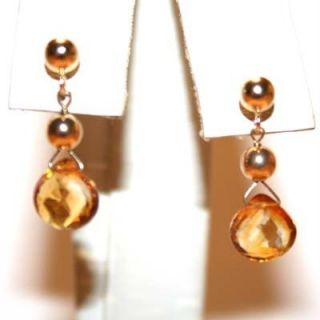 Yellow Gold Natural Citrine Solitaire Stud Drop Dangle Earrings