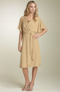 Calvin Klein Faux Wrap Jersey Dress with Sequin Inset
