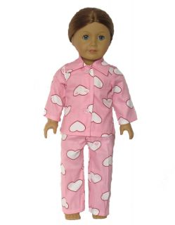 2pcs Doll Clothes Outfits Pink Pajamas for 18 American Girl New