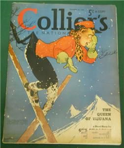 COLLIERS MAGAZINE DECEMBER 1940 ~ GIRL SKIING THE QUEEN OF TIJUANA