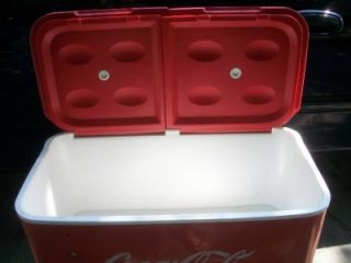 coca cola cooler ice chest on stand w wheels