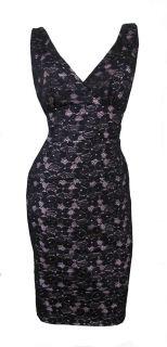 Black Beige Stretch Lace Contour Cocktail Dress GIA Size 8 10 12 14