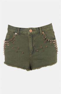 Topshop Moto Studded Cutoff Denim Shorts