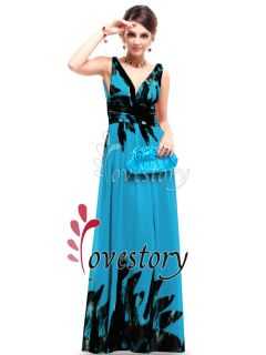 Double V neck Print Chiffon Empire Line Pleated Prom Dress 09641