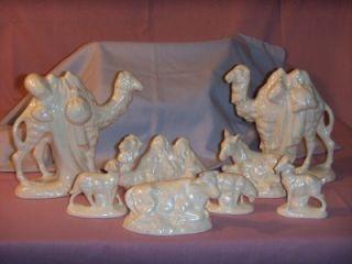 Vintage 19 Piece Atlantic Mold Ceramic Nativity Set w Animals People