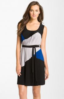 Taylor Dresses Pleated Colorblock Jersey Dress