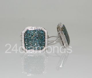 White Gold Mens 2.65 ct Mens Blue Diamond Custom Cuff Links Certified