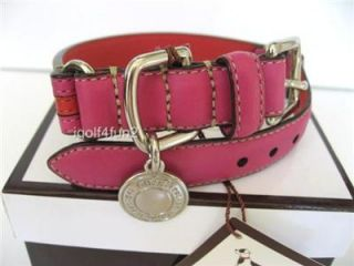 COACH Leather Stripe Dog Collar w/Charm Coral Magenta S Small NIB
