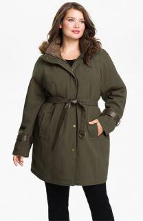 Kristen Blake Belted Coat with Faux Fur Trim (Plus)