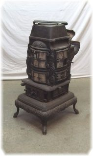 No 34 Cast Iron Wood Coal Burning Pot Belly Parlor Stove Heater