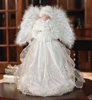 Fiber Optical Lighted Porcelain Snow Angel Christmas Tree Topper 16
