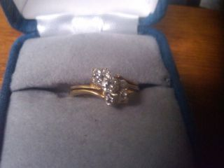 Magic Glo 14k Yellow Gold Joining Diamond Ring Pair Size 5