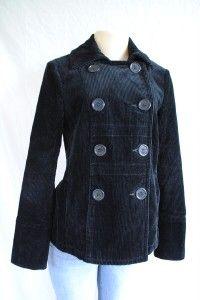 COUTURE Black Velvet Corduroy Peacoat Double Breasted Coat Jacket S