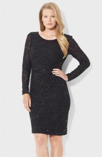Lauren Ralph Lauren Sequin & Lace Sheath Dress (Plus)