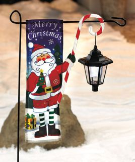 Christmas Flag With Solar Lantern Santa Holiday Yard Decor Light