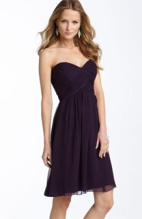 Donna Morgan Strapless Silk Chiffon Dress