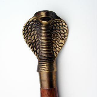 Vintage Solid Brass Cobra Snake Head Walking Stick Cane